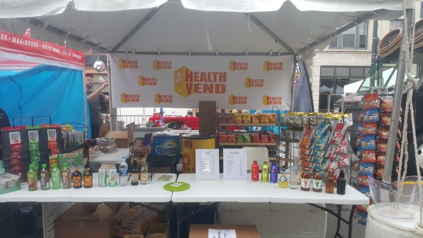 Sample booth for healthier snacks and beverages at Do-Division in downtown Chicago