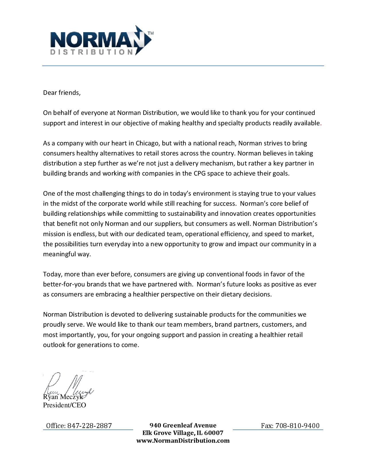 A Letter from Our CEO Norman Distribution